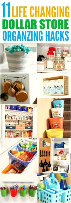 These 11 life changing dollar store organizing hacks are THE BEST! I'm so happy I found these AWESOME tips! Now I have great ways to keep my home organized on a dime! Definitely pinning for later!