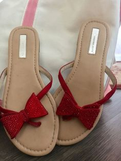aa1ab30b32a3e I N C Mabae Womens Size 8 1/2 Red Flat Bow Flip Flop Sandals 8.5 Dorothy Oz  #fashion #clothing #shoes #accessories #womensshoes #sandals (ebay link)
