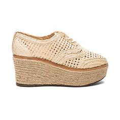 Schutz Jules Espadrille Flatform (775 PEN) ❤ liked on Polyvore featuring shoes, sandals, heels, wedge heel sandals, espadrille wedge sandals, platform espadrille sandals, lace up sandals and braided sandals