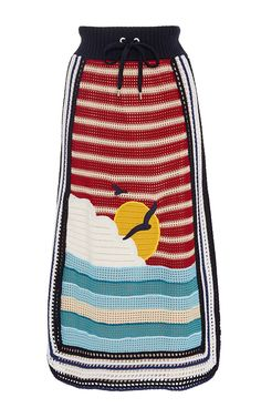 Sun And Wave Embroidered Crochet Skirt by RED VALENTINO for Preorder on Moda Operandi