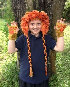 Lion Hat and Fingerless Gloves Crochet Lion Beanie by RebelSkein