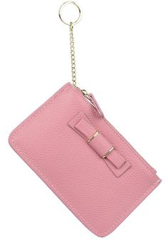 YALUXE Women's Bowknot Zipped Leather Coin Wallet Card Holder with Keyring Red ** Check out this great product.