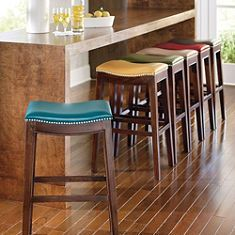 Julien Leather Bar Stool - @Rosalee Baker -for your counter?