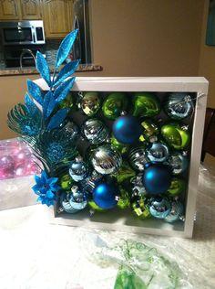 Peacock Christmas Ornament Shadow Box decor holiday decoration. $25.00, via Etsy.