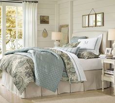 Pleated Button Bed Skirt | Pottery Barn. Brushed canvas natural for main bedroom