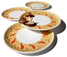 Caleca Chili Peppers 4-Piece Dinner Plate Set, « Holiday Adds