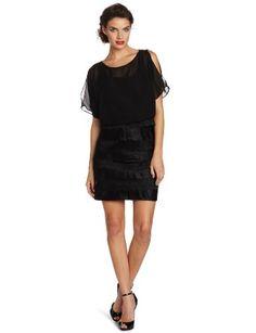 31a2266e426 Amazon.com  London Times Women s Chiffon Shimmer Lace Blouson Shutter Tuck  Dress  Clothing