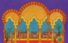 Preparing for Aladdin,our next middle school production! Here is a plan for the backdrop –