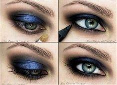 navy blue eye makeup, navy blue eye shadow,