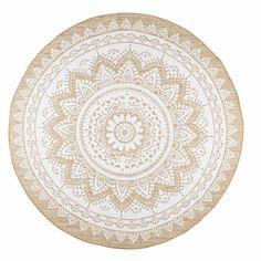Tapis en jute et coton blanc D.180cm ...