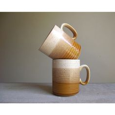 Retro Speckled Glazed Stoneware Stonecast Mugs ($24) ❤ liked on Polyvore featuring home, kitchen & dining, drinkware, stoneware mugs and retro mugs