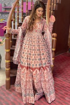 Exquisitely embroidered with Hand & Machine work, this pastel pink chanderi anarkali suit which will add oodles of charm to your special ethnic look. This sweetheart neckline and full sleeve garment designed using digital print work. Accompanied by a matching lycra churidar in pastel pink color with pastel pink chanderi dupatta. Churidar has plain. #anarkalisuit #usa #Indianwear #Indiandresses #andaazfashion