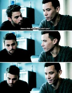 [gifset] #1x13 #MamasHereNow #Coliver Stare a little harder why don't you Connor and Oliver