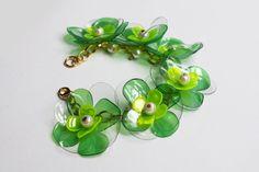 Floral Chain Bracelet, Green PET bottle Chain Bracelet, Orange, Eco-friendly Jewelry, by ENNA Plastic Bottle Flowers, Plastic Bottle Crafts, Plastic Bottles, Bottle Jewelry, Recycled Jewelry, Pet Bottle, Green Flowers, Pearl Beads, Orange