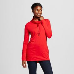 Women's Funnel Neck Tunic Red XL - Merona, Red Pop