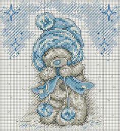 Tatty teddy with blue snow hat cross stitch Cross Stitch Love, Cross Stitch Animals, Cross Stitch Charts, Cross Stitch Designs, Cross Stitch Patterns, Cross Stitching, Cross Stitch Embroidery, Embroidery Patterns, Tatty Teddy