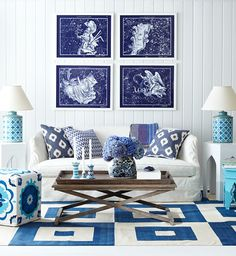 Navy + teal + purple = future living room