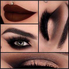 Anastasiabeverlyhills Amrezy Palette for my eyes ✨ 'Glisten' on the lid, 'LBD' outer V. 'LBD, Deep plum, Morocco & Caramel' in the crease & 'Vanilla' on the brow bone.  Brows: @Anastasiabeverlyhills Dipbrow (Chocolate)  @Thekatvond Tattoo Liner (Trooper) to line my eyes.  @Desioeyes (Forest green) contact lenses.  Lashes: @flutterlashesinc (Natalie)  Lips: @Thekatvond Everlasting Love Liquid Lipstick (Vampira)