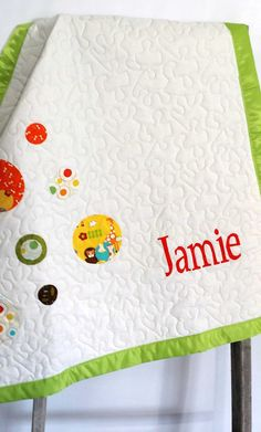 Personalized baby gift first birthday gift toddler gift personalized baby quilt blanket custom baby by thequirkyquiltr negle Image collections