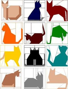 12.5 Inch Quilt Block Patterns | Block of the Month Club - Quilted Cats - Picmia