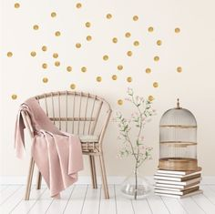 Pom Le Bon Homme Triangle wall transfers in Rose pink and gold Room Wall Decor, Bedroom Decor, Gold Dot Wall, Gold Dots, Wall Transfers, Polka Dot Walls, Triangle Wall, Scandinavian Wall Decor, Deco Design