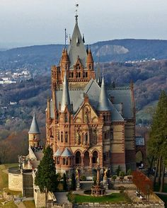 Schloss Drachenburg (Drachenburg Castle)Königswinter, on the Rhine near Bonn, Germany.http://www.castlesandmanorhouses.com/photos.htmSchloss Drachenburg is a private villa in palace style constructed in the late 19th century. It was completed in only two years (1882–84) on the Drachenfels hill.. Baron Stephan von Sarter, a broker and banker, planned to live there, but never did. Today the Palace is in the possession of the State Foundation of North Rhine-Westphalia.