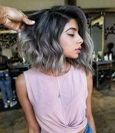 60 Spring Highlight Ideas for Short Hair Charcoal brown silver beige by Linh Phan Bob Hairstyles 2018, Summer Hairstyles, Ombre Hair, Balayage Hair, Silver Ombre Short Hair, Brown To Grey Hair, Colored Short Hair, Short Textured Hair, Cheap Hair Extensions
