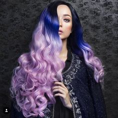 Best Hairstyles & Haircuts for Women in 2017 / 2018 : Black Blue To Viola Ombre. Purple hair color variations surprise us with their Purple Ombre, Pastel Purple Hair, Purple Wig, Brown Ombre Hair, Hair Color Purple, Deep Purple, Eggplant Purple, Colorful Hair, Hair Rainbow