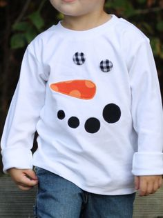 Frosty Tee for Boys or Girls - Made with a orange dot nose, black corduroy mouth, and black and white gingham check covered buttons for eyes.  By prissypeacockdesigns on Etsy