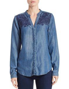 """<ul> <li>Lace heightens this classic chambray design</li> <li>Split v-neck</li> <li>Long sleeves</li> <li>Button front</li> <li>About 24"""" from shoulder to hem</li> <li>Tencel</li> <li>Dry clean</li> <li>Imported</li> </ul>"""