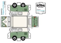 Paper model of Discovery Channels Fast 'n Loud Gas Monkey Garage '66 VW Micro Van by PaperTruckLogo [https://www.facebook.com/photo.php?fbid=515785825232616]