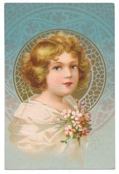 Rare Ellen Clapsaddle - Girl in Art Nouvweau Medallion TRIMMED