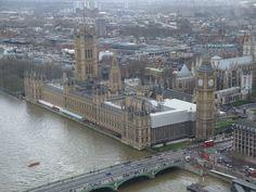 Parlamento británico en Londres visto desde lo alto del London Eye
