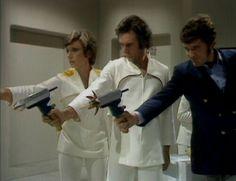 The Ark in Space: Season 12 Series 2 | Vira (Wendy Williams), Rogin (Richardson Morgan) and Harry Sullivan (Ian Marter) shoot a Wirrn