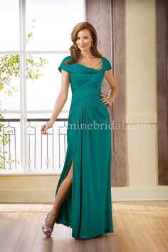 Jasmine Bridal Jade Style J175070 in Emerald // Stand out at any kind of special occasion with this gorgeous mother-of-the-bride dress with a scoop neckline and A-line skirt. Crafted with Georgette, this gown features pleating on the bodice, and gorgeous beaded detail at the neckline.