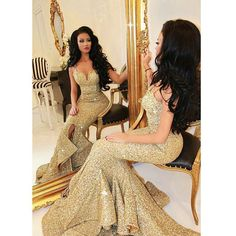 Find More Evening Dresses Information about Real Images Gold Evening Dresses Sequined Sexy Spaghetti Straps Long Mermaid Evening Gowns Front Slit Ruffles Bling Prom Dresses,High Quality dress champagne,China dress right dress Suppliers, Cheap dress pumps from Beautiful Life Dress on Aliexpress.com