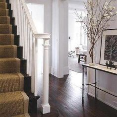 I love the look of this house. The dark floors, stair runner, white walls, minimal decor and traditional lay out. My ideal! Entry Foyer, House Design, New Homes, Stair Runner, House Styles, Staircase, Hardwood Floors Dark, Entrance Foyer, Home