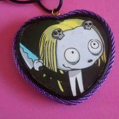 Collana con maxi ciondolo realizzato interamente a mano ispirato alla dolcissima Lenore in stile rockabilly horror dark gothic zombie splatter halloween vittoriano pin up