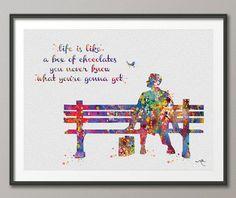 Forrest Gump Quote-2 Watercolor Art Print Art Wall por CocoMilla