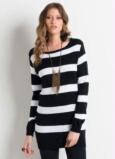 Suéter de Tricô Alongado (Preto e Branco) Listrado