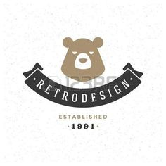 bear logo: Retro Vintage insignias o logotipo Vector elemento de diseño, rótulo…