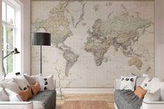 Nederlandstalige wereldkaart - Fotobehang 368 x 254 cm