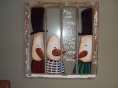 Hand-Painted Snowmen from Pokorny's - Online Fundraising Auction - BiddingForGood Snowman Crafts, Christmas Projects, Crafts To Do, Fall Crafts, Holiday Crafts, Snowman Pics, Old Window Crafts, Old Window Projects, Christmas Signs