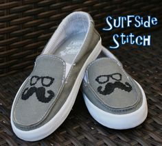 de40c58fd37 Custom Embroidered Mustache Vans Shoes.  40.00