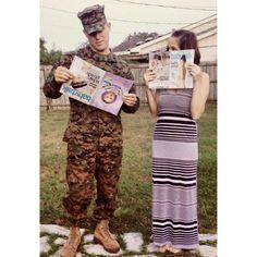 Our pregnancy announcement  #usmc #military #babies