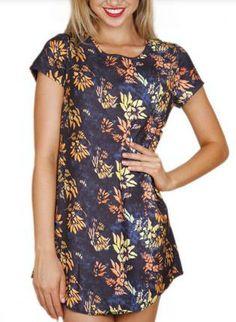 Navy Short Sleeve Shift Dress w/ Multicolor Floral Print #ustrendy #floral #chic #spring