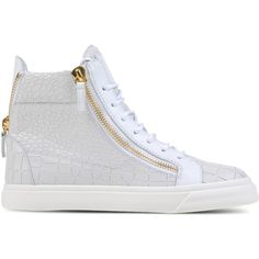 Giuseppe Zanotti Design High-Top Sneakers ($715) ❤ liked on Polyvore featuring shoes, sneakers, white, leather high top sneakers, white shoes, giuseppe zanotti sneakers, leather high tops and flat shoes