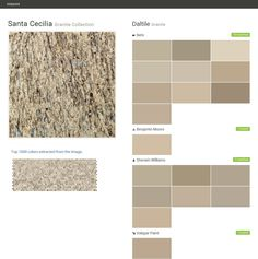 Santa Cecilia. Granite Collection. Granite. Daltile. Behr. Benjamin Moore. Sherwin Williams. Valspar Paint.  Click the gray Visit button to see the matching paint names.