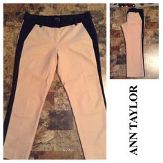 """Ann Taylor Cropped Pants Ann Taylor Cropped Pants are made of 97% Cotton and 3% Spandex. These are the Signature Series. The color is Tan with black trim. Size 8 Petite. This is the 4 Pocket design. Inseam """"24.5. Length """"33. Rise """"8.5. Laying flat """"15.  This item is in Good condition, Authentic and from a Smoke And Pet free home. All Offers through the offer button ONLY. I Will not negotiate Price in the comment section. Thank You😃 Ann Taylor Pants Ankle & Cropped"""