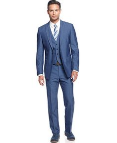 Groom in blue. Calvin Klein Medium Blue Vested Slim X Fit Suit
